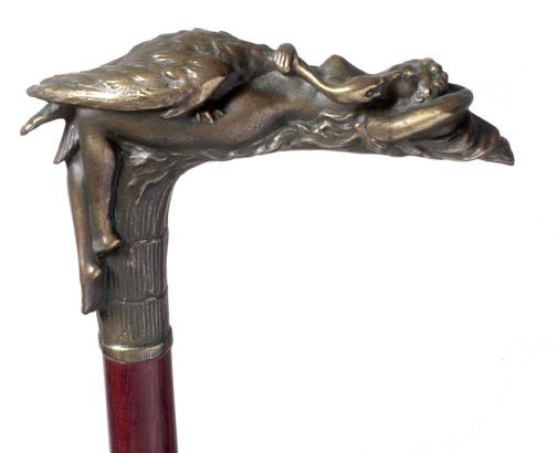 11: 11. Bronze Leda and the Swan Cane-Early 20th Centur