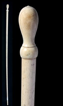 14: 14. Whalebone Nautical Cane-Circa 1865-A carved ivo