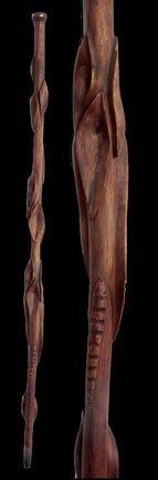 15: 15. Folk-Art Snake Cane-Early 20th Century-A carved
