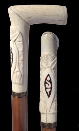17: 17. Ivory Dress Cane-Late 19th Century-A two piece
