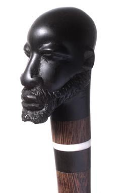 19: 19. Exotic Carved Ebony Head Cane-Early 20th Centur
