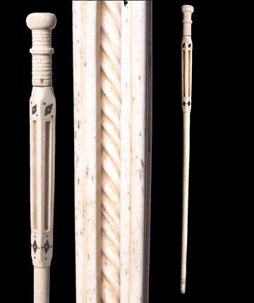 205: 205. Whalebone Scrimshaw  Nautical Cane-Circa 1860