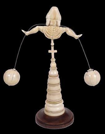 213: 213. Erotic Ivory Nun Balance Toy-19th Century-The - 2