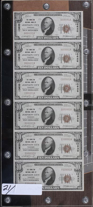 Uncut sheet -$10 Hamilton Bank- National Bank Notes #1