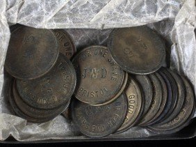 62. Tobacco Tin Full Of Various Tokens
