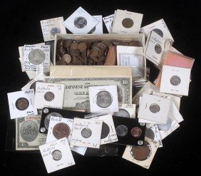 68. Assorted Foreign Currency And Coin Lot