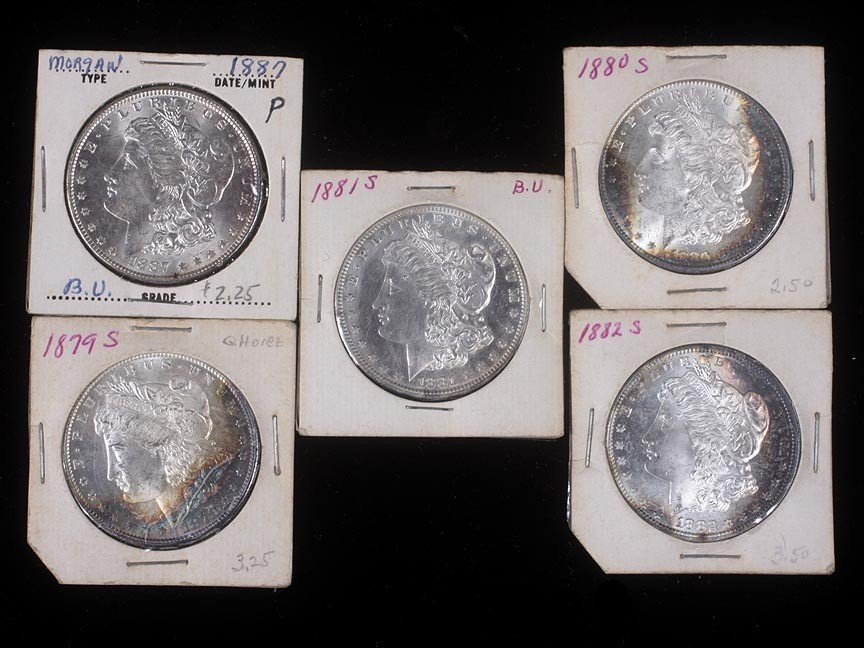 82. Five Morgan silver dollars, 1879-80-82S-81S-83