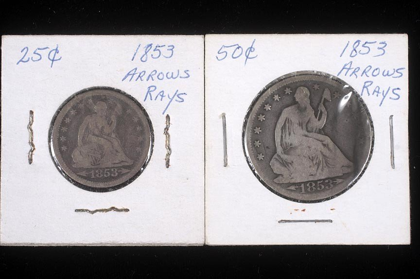 92. 1853 half dollar and quarter
