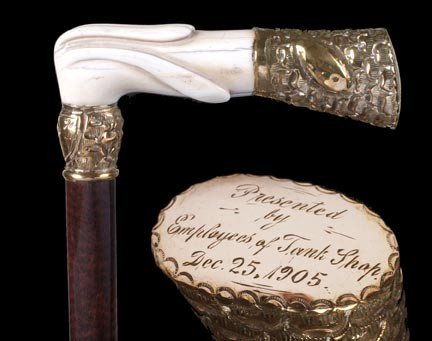 "7: 7. Ivory Presentation Cane-Dated 1905-A 5"" x 1 ½"" ca"
