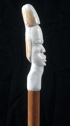 "10: 10. Ivory Erotic Cane-Early 20th Century-A 6 ¾"" x 1"