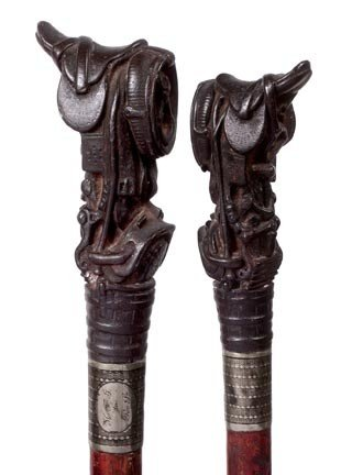 "11: 11. Cast Polo Cane-Early 20th Century-A 3"" x 1 ½"" h"