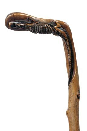 13: 13. Carved Alligator Cane-Early 20th Century-A carv