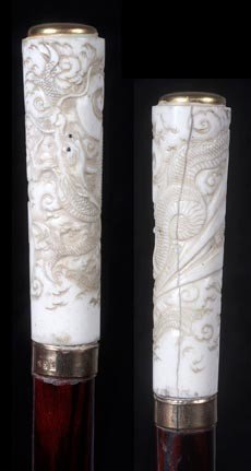 "20: 20. Asian Ivory Dress Cane-Circa 1900-A 3 ½"" x 1"" c"