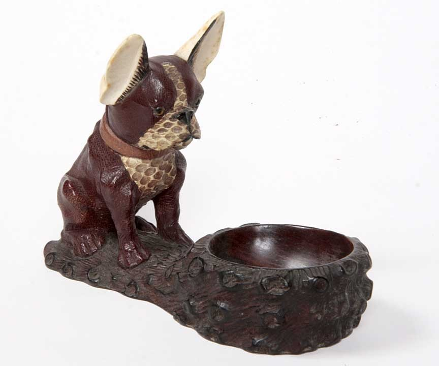 6: 6. Carved Wood and Ivory Bull Dog  Tobacco Pipe hold