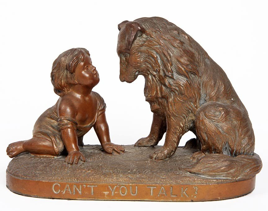 """10: 10. Sphelter Statue of Girl and Dog, """"Can You Talk"""""""