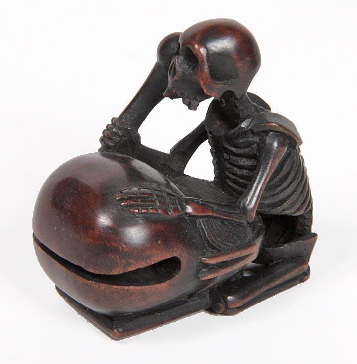 """15: 15. Boxwood Skeleton Okimono, 1 ½""""x 2"""" x 1"""", $100-$"""