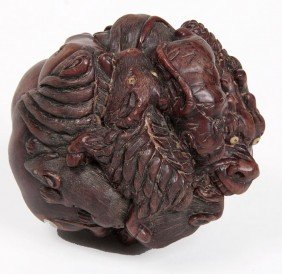17: 17. Carved Exotic Wood Dragon Zodiac Ball with an i