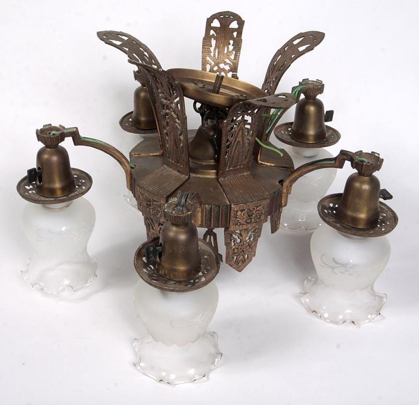 "18: 18. Art Deco Five Light Chandelier, brass, 19"" x 14"
