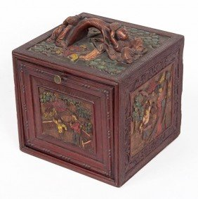 20: 20. Unusual painted and Carved Mahjong Box, Early 2