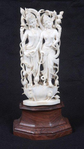 22: 22. Carved Ivory Figure, a Hindu Carving which is m