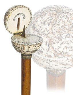 6: Globe and Sundial Ivory Cane-English, 19th Century-T