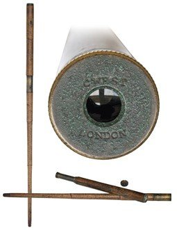 """14: Early Telescope Cane-18th Century, signed """"C. WEST,"""
