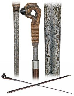 89: Early Sword Cane-Large boxwood claw and egg handle