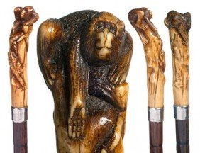 63. Japanese Monkey And Frog Cane-Circa 1895-A Carv