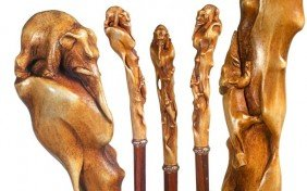 66. Japanese Stag Elephant Cane-Circa 1890-A Carved