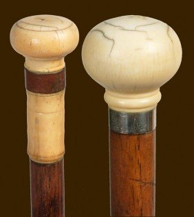 72. Pair Of Ivory Canes-Circa 1885-A Nice Pair Of I