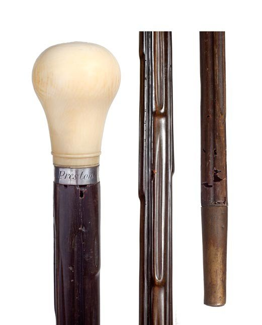 73: 73. Rhino Horn Shaft Cane-Mid 19th Century-A rarely