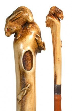 75. Japanese Rabbit Stag Cane-Circa 1890-A Carved M