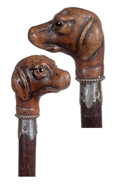76: 76. Carved Dog Dress Cane-Circa 1900-A carved dog w