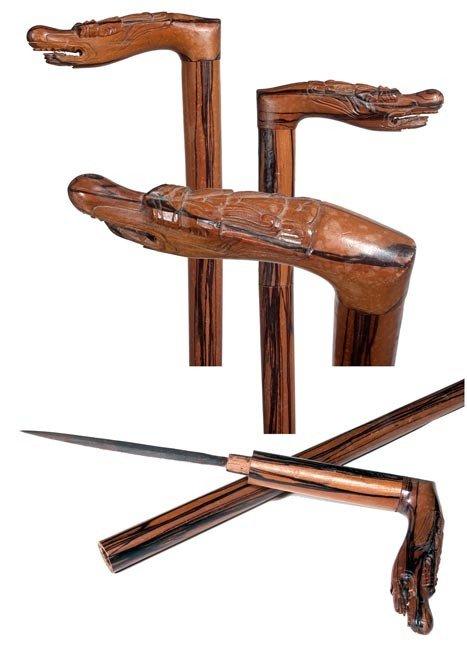 79: 79. Indonesian Dagger Cane-Circa 1930-A carved drag