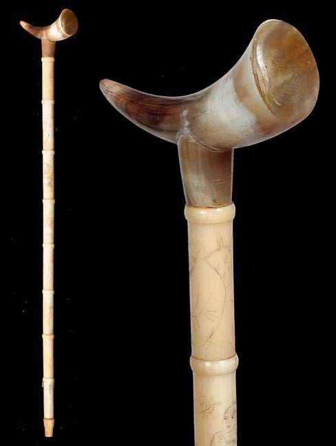 81: Chinese Bone Cane- Early 20th Century- Polished hor