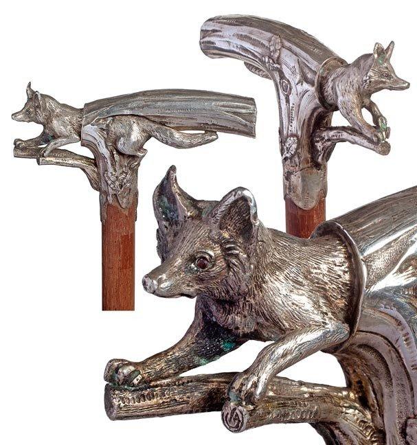 86: 86. Fox Dress Cane-Circa 1885-A .800 silver casting