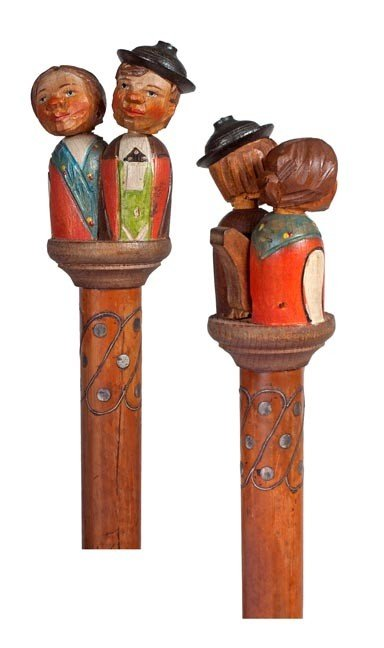 93: 93. Kissing Couple German Cane- Early 20th Century-