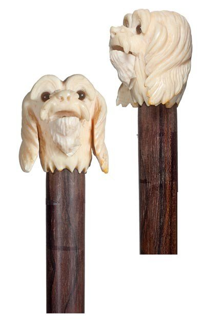 94: Ivory Automated  Spaniel Cane- Circa 1930-A carved