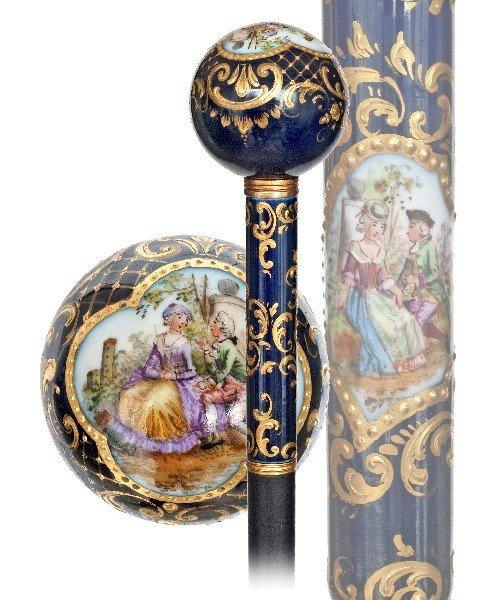 1. Meissen Porcelain Dress Cane -Circa 1890-Royal cobal