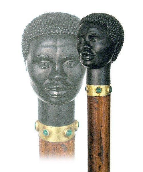 4. French Black Man Hardstone Mascot Cane- Late 19th Ce