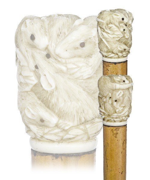 8. Japanese Ivory Rat Cane-Late 19th Century-A precise
