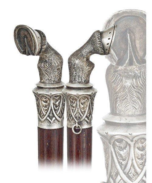 10.  Horse Hoof Silver Cane- English, circa 1890-Finely