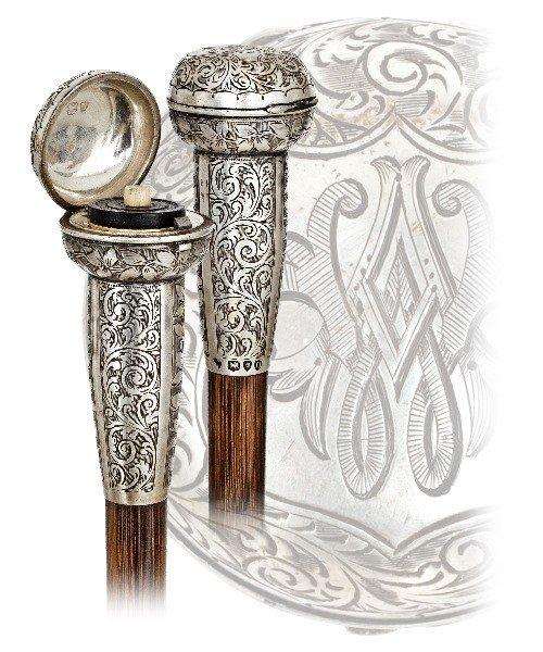 15. Snuff Tobacco Cane-London hallmarks 1895-Silver han