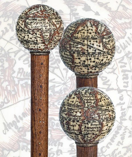 16. Globe Ivory Cane -English, 19th Century- Terrestria