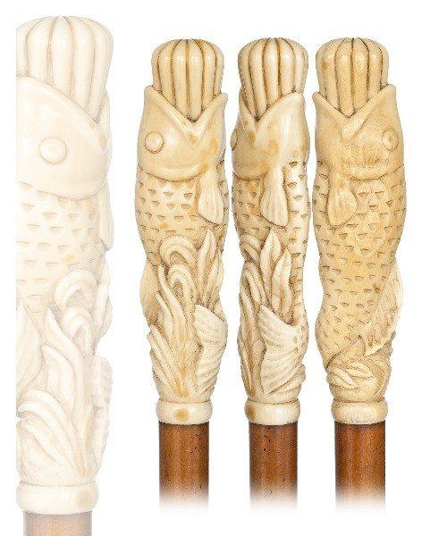 18. Ivory Fish Cane -19th Century- Large and striking i