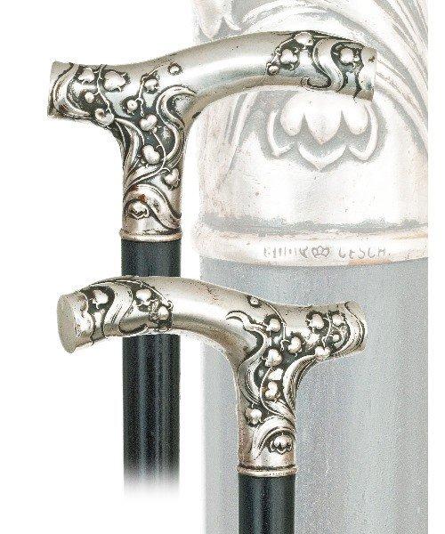23. Silver Art Nouveau Cane-Late 19th Century-Large Ope