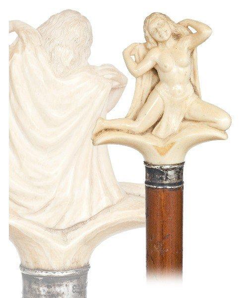 24. Art Nouveau Figural Cane-Late 19th Century-Elephant