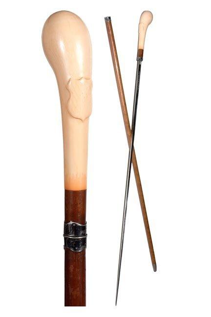 84. Toledo Ivory Sword Cane-Late 19th Century-A substan