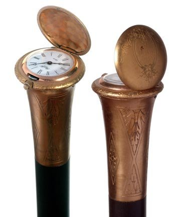 11. French Watch Cane-Mid 20th Century-A gold-filled pu