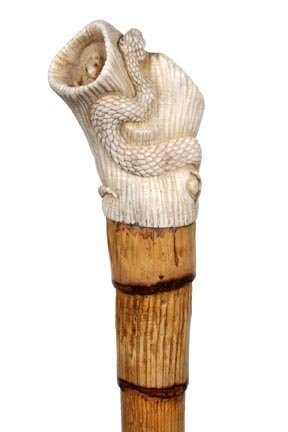 2. Stag Dress Cane-20th Century-A carved stag handle wi